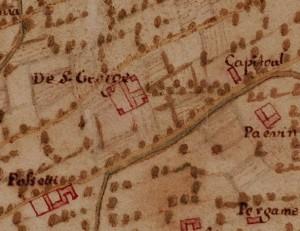 Cascina La Marchesa, già La Florita. Carta della Montagna, 1694-1703. Carta della Montagna, 1694-1703. ©Archivio di Stato di Torino.