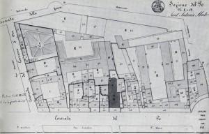 Andrea Gatti, Tavola di dettaglio relativa all'isolato di Sant'Antonio del catasto del 1820. © Archivio Storico della Città di Torino