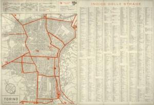 Pianta automobilistica di scorrimento, 1961. Biblioteca civica centrale, Cartografico 3/4.47.02 © Biblioteche civiche torinesi