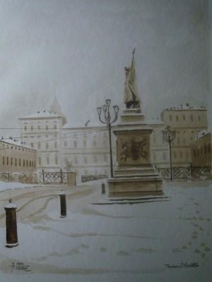 Alfredo Negro, Piazza Castello, 1985, acquerello