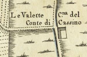 Cascina Le Vallette. Amedeo Grossi, Carta Corografica dimostrativa del territorio della Città di Torino, 1791. © Archivio Storico della Città di Torino