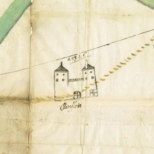 Planimetria a firma Ing. Bronzo allestita d'intesa delle città di Torino e Moncalieri per la terminazione dei rispettivi finaggi dalla parte di Mirafiori, 1622. © Archivio Storico della Città di Torino.