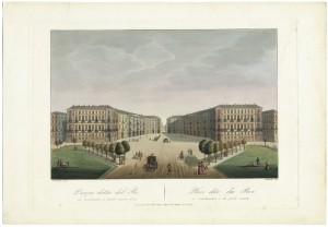 Veduta di piazza Carlo Felice. Incisione acquerellata di Stucchi su disegno di Nicolosino. © Archivio Storico della Città di Torino.