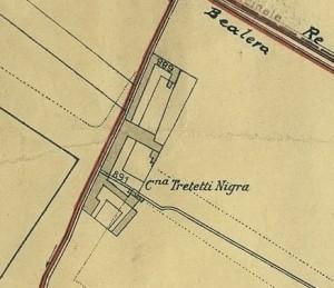 Cascina Tre Tetti Nigra. Pianta di Torino,  1935, © Archivio Storico della Città di Torino
