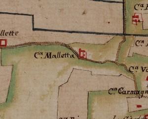 Cascina Maletta. Carta delle Regie Cacce, 1816, ©Archivio di Stato di Torino