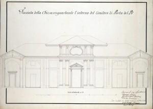 «Facciata della Chiesa risguardante l'interno del Cimitero di Porta del Pò», 1776. © Archivio Storico della Città di Torino