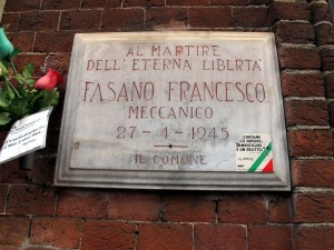 Lapide in memoria di Francesco Fasano (1924 - 1945)