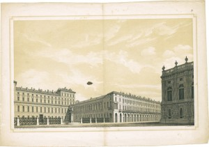 Veduta di piazza Castello e di piazzetta Reale. Litografia dei F.lli Doyen su disegno di G. Gallo, 1851. © Archivio Storico della Città di Torino