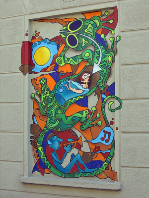Marco Bailone,Senza titolo, 2000, opera murale per il MAU Museo Arte Urbana,via Musinè 12a. Fotografia di Alessandro Vivanti, 2011