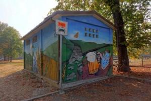 MKE, murale su cabina elettrica, 2009, giardini stazione dei bus