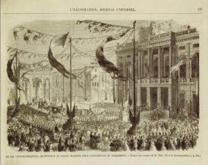 Il re Vittorio Emanuele si reca a Palazzo Madama per l'apertura del Parlamento, in