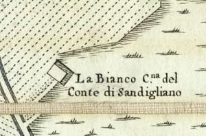 Cascina Bianco nel quartiere Vallette. Amedeo Grossi, Carta Corografica dimostrativa del territorio della Città di Torino, 1791, © Archivio Storico della Città di Torino