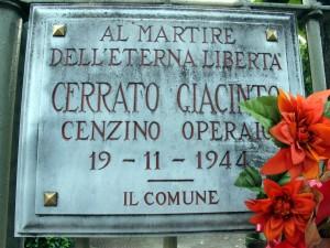 Lapide dedicata a Cerrato Giacinto Vincenzo ( 1924 - 1944)