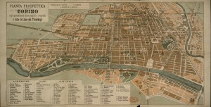 Pianta topografica della città di Torino con le linee di trasporto pubblico, 1910 circa. Biblioteca civica centrale, Cartografico  3/4.15.01 © Biblioteche civiche torinesi