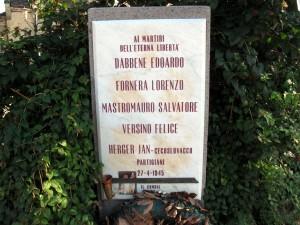Lapide dedicata a Dabbene Edoardo, Fornera Lorenzo, Mastromauro Salvatore, Herger Hans, Versino Felice