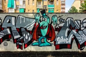 Deder, Wubik, Bans, senza titolo, dettaglio del murale, 2015, giardini Natale Re. Fotografia di Roberto Cortese, 2017 © Archivio Storico della Città di Torino