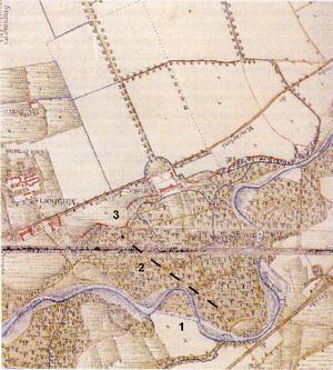 Rappresentazione del castello di Mirafiori e del Sangone al momento della costruzione. Carta Topografica della caccia, 1762. (da Baggio et al., 2003).