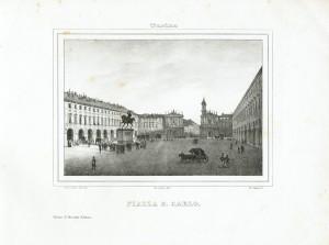 Piazza San Carlo. Litografia dei F.lli Doyen su disegno di E. Gonin, 1839. © Archivio Storico della Città di Torino