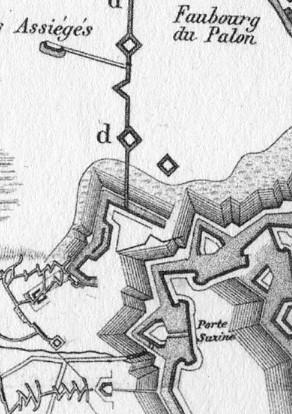 L'Opera a Corno durante l'assedio del 1706 nella carta allegata all'opera di MENGIN Gabriel (particolare).