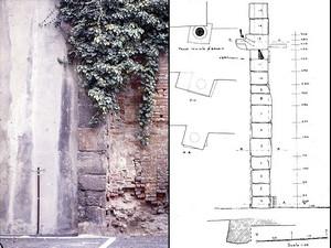 I blocchi di tubatura in pietra riutilizzati come contrafforte del muro in via Botero, © Soprintendenza per i Beni Archeologici del Piemonte e del Museo Antichità Egizie.