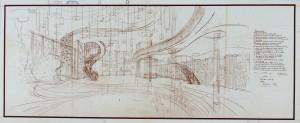 Prospettiva della sala da ballo Lutrario, Torino, 1959 (Archivio Mollino, Biblioteca di Architettura, Politecnico di Torino)