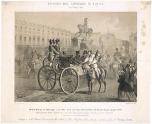 Omaggio a Vittorio Emanuele II in piazza San Carlo. Litografia dei F.lli Doyen, 1865. © Archivio Storico della Città di Torino.
