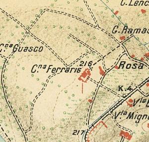Cascina Meisino, già Cascina Bracco. Istituto Geografico Militare, Pianta di Torino e dintorni, 1911. © Archivio Storico della Città di Torino