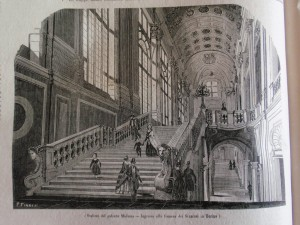 P. Finazzi, Scalone del Palazzo Madama. Ingresso alla Camera dei Senatori in Torino, da
