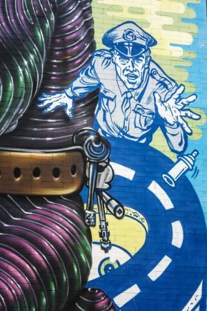 Grito, Sague, Spok, senza titolo, dettaglio del murale 2010, scuola King, corso Francia. Fotografia di Roberto Cortese, 2017 © Archivio Storico della Città di Torino