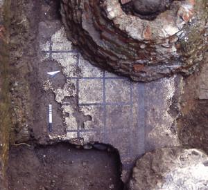 Un piccolo tratto della pavimentazione a mosaico con reticolo nero al momento della scoperta, © Soprintendenza per i Beni Archeologici del Piemonte e del Museo Antichità Egizie.
