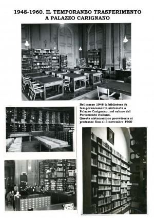 1948-1960. La biblioteca civica temporaneamente sistemata in Palazzo Carignano