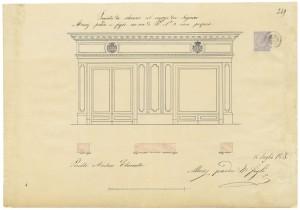 Musy Torino, Progetto per la devanture dell'ebanista Perelli, 15 luglio 1865, © Archivio Storico della Città di Torino