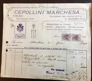 Cepollini Marchesa di F.lli Sestini, Argenti e preziosi, riproduzione di fattura del 1919