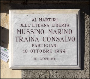 Lapide dedicata a Mussino Marino (1916 - 1944), Traina Consalvo (1922 - 1944)