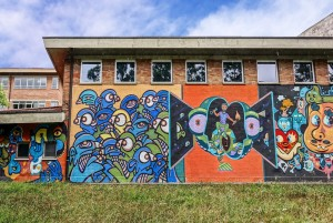 Bue The Warrior, Chase, Galo, Pixel Pancho, murale senza titolo, 2012, scuola Nievo