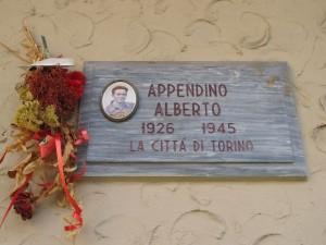 Lapide dedicata ad Alberto Appendino (1926 - 1945)