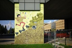 Il Cerchio e le Gocce,  murale sui piloni della manica del Politecnico, 2009. Fotografia di Roberto Cortese, 2017 © Archivio Storico della Città di Torino