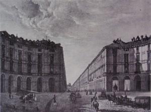 Piazza Vittorio e contrada di Po. Litografia di D. Festa, 1835. © Archivio Storico della Città di Torino.