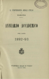 «Annuario accademico», A. XVII, a.a. 1892-1893, Torino, copertina