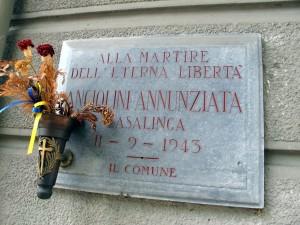 Lapide dedicata ad Angiolini Annunziata (1887-1943)