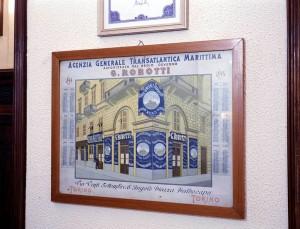 Transatlantica Robotti, calendario del 1894 con disegno dell'esterno dell'agenzia, 1998 © Regione Piemonte