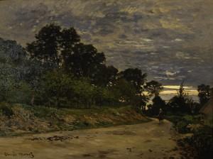 Claude Monet, Paesaggio campestre al tramonto, circa 1863-1864, olio su tela.  Roma, Collezione Banca d'Italia