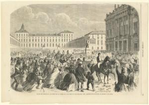 Vittorio Emanuele II in piazza Castello, litografia. © Archivio Storico della Città di Torino