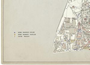 Bombe e mezzi incendiari lanciati 1:5000, 1942-1945. Zona 7: Borgate Monterosa e Montebianco - Barriera DI Milano. ASCT, Tipi e disegni, cart. 68, fasc. 1 disegno 7, quadrante 3. © Archivio Storico della Città di Torino