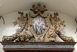 Farmacia Anglesio, particolare dello stemma all'esterno, 2017 © Archivio Storico della Città di Torino