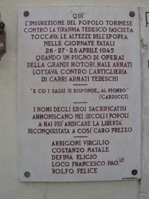Lapide dedicata a Arrigoni Virgilio, Costanzo Natale, De Fina Eligio, Loco Francesco Paolo, Rolfo Felice