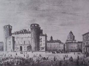 Veduta di piazza Castello. Litografia di D. Festa, 1834. © Archivio Storico della Città di Torino