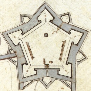Fabbricati della Cittadella nel 1656. Carlo Morello, particolare.