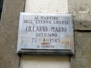 Lapide dedicata a Mario Cillario (1924 - 1945)