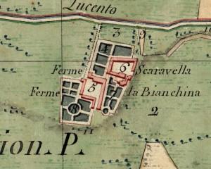 Cascina Bianchina e cascina Scaravella. Catasto Napoleonico, 1805. © Archivio di Stato di Torino